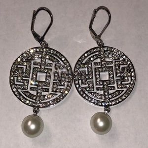 Chinese Symbol Earrings With CZ's and Faux Pearls